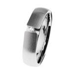 Ring Edelstahl matt/poliert, Brill. TW/SI 0,02 ct., R510. Preis 129,- €