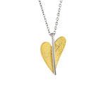 Anhänger Edelstahl, Herz, teilweise Gelbgold beschichtet, matt/poliert/gelb teilvergoldet, ca. 9 x 13 mm AN277 Preis: 47,- €