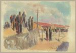 Valentin Horvat, Gonars, 1942 akvarel, MNZS-RI-10639