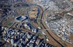 鶴見川と横浜スタジアムは周りの広大な遊水地