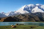Kirgisen-Jurten am Karakul-See, Pamir, Xinjiang-Provinz, VR China