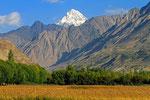 Felder in der Nähe von Yamg, Taschikistan; im Hintergrund die Berge des Hindukusch in Afghanistan