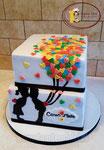 Vierkante taart met heel veel hartjes