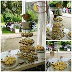 Aansnij taartje met 85 bruidscupcakes