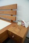Eichenbalkenbett, gebürstet und geölt