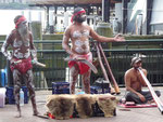 Aborigines with didgeridoo in Sydney Harbour
