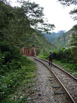 Hiking along the train track to Aguas Calientes