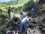 The train track was partly covered by mud slides, so that we had to stop and remove them on our way