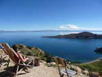 Relaxing with amazing views on the Isla del Sol