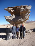 "Our Uyuni Tour Group (Ditte, Hannah, Rob, me, Sophia and Antonella) in front of the ""Tree Rock"""