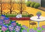 秋咲きパンジーの庭
