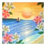 プルメリアのフレーム(夕日の海)