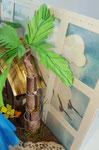 Die Palme ist aus einzelnen Streifen Papier gerollt, zusammengesteckt und geklebt. Die Blätter sind aus den Framelits Botanical Builder.Die Wolken sind mit Hilfe einer Schablone getupft. Der Fensterrahmen ist eine Fensterstanze die zugeschnitten wurde.