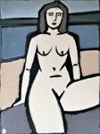 Femme aux yeux bleus - Enduit acrylique sur toile -60x80cm -  2021