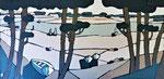 Lac marin de Vieux Boucau Enduit acrylique sur toile 120x60cm 2019