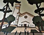 Eglise d'Hossegor Enduit acrylique sur toile 60x50cm 2020