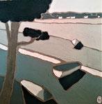 Lac d'Hossegor 2 Enduit acrylique sur toile 40x40cm 2019