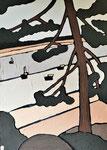 Pin sur le lac Enduit acrylique sur toile 50x70cm 2020