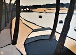 Fond du lac d'Hossegor Enduit acrylique sur toile 70X50cm 2020