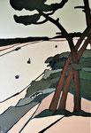 Sur les hauteurs du lac d'Hossegor (2) Enduit acrylique sur toile 65x92cm 2020