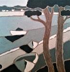 Lac d'Hossegor 1 Enduit acrylique sur toile 40x40cm 2019
