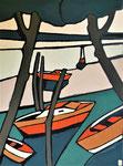 Bateaux et lac- Enduit acrylique sur toile - 60x80cm -  2021