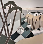 Doux bassin Enduit acrylique sur toile 100x100cm 2020