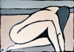 Femme recroquevillée 2  - Enduit acrylique sur toile - 70x50cm -  2021