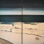 Envie d'océan diptyque Enduit acrylique sur toile 2x50x100cm 2020