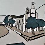 Eglise de Capbreton 2 Enduit acrylique sur toile 50x50cm 2020