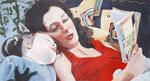 Lesende Frau, Acryl auf Leinwand (verkauft)
