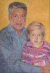 Vater und Tochter, 60 x 40 cm, Acryl auf Leinwand (Auftragsarbeit)