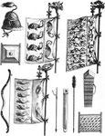 Étendards, cuirasses, casques et autres instruments de guerre des anciens Chinois.