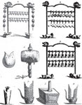 Instruments de musique : 1. 2. 3. Pien-King. — 4. Kou-tao, espèce de tambour. — 5. Tcho. — 6. 7. Seng, Yu, espèces d'orgues portatives.