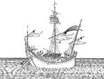 Barques dites tsang-tchen-tchouen. Plus petites que celles dont on a déjà parlé. Quand il y a du vent on hisse la voile, sinon on se sert de rames. Barque en usage à Tay-peng-hien. Elle tire six à sept pieds d'eau. On l'envoie à la découverte.