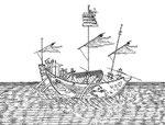 Vaisseau à ouvrir les vagues.Ne tire que 3 ou 4pieds d'eau. Sa proue est en pointe, & fend aisément les eaux, d'où son nom. Il a un gouvernail & quatre rames, outre la voile. Il ne craint ni le vent ni les vagues. Il contient depuis 30 jusqu'à 50 soldats.