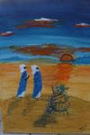 Tuarec in der Wüste 2010  Acryl auf Leinwand