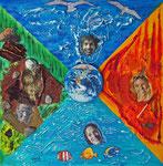 Die vier Elemente 2013 Collage auf Leinwand