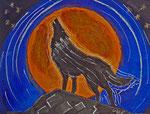 Singender Wolf 2015 Acryl auf Karton (verkauft)