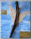 Holzengel, 2016 Mischtecnik Acryl, Strukturpaste, Schwemmholz und Stein auf Leinwand 40 x 50 cm 75.00