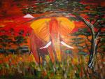 Elefant in der Savanne 2015