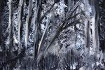Urwald schwarz weiss Acryl auf Leinwand 18 x 24 cm (verkauft)