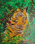 Tieger im Dschungel 2015 Acryl auf Leinwand