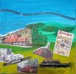 Seetalbahn Collage auf Leinwand 2013 (verkauft)