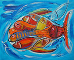 Fische im Fisch 2013 Acryl auf Leinwand