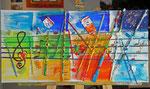 4 Jahreszeiten Musik trifft Farbe 2014 Collage auf leinwand