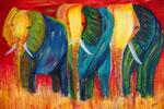 Drei Elefanten 2012 Acryl auf Leinwand