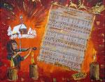 Stille Nacht 2015 Acryl auf Leinwand (Collage) (verkauft)