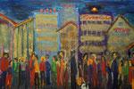 Abend in der Stadt 2011 Acryl auf Leinwand