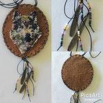 8 x 7.5 cm (Lederteil), Glasperlen, Messingteile, gewachste Baumwolle